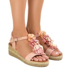 Pink wedge sandaler med blomster 218-168