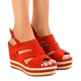 Røde espadrilles FG6 kilehæl sandaler