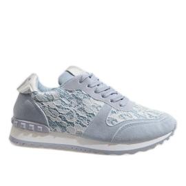 Blå sneakers med G-100 blonder