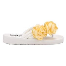 SHELOVET hvid Lys flip-flops med blomster