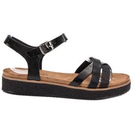 Bestelle sort Sandaler Med Brocade Sole