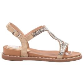 Bello Star Suede Sandaler Med Krystaller brun