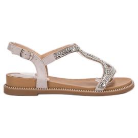 Bello Star Suede Sandaler Med Krystaller grå