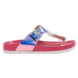 Ideal Shoes pink Flip-flops med Holo Effect