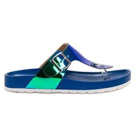 Ideal Shoes blå Flip-flops med Holo Effect