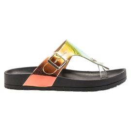 Ideal Shoes sort Flip-flops med Holo Effect
