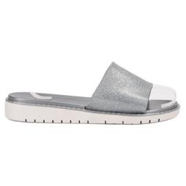 Fashion grå Moderigtige Glossy Flip Flops