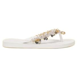 SHELOVET hvid Gummi Flip-flops Med Ornamenter