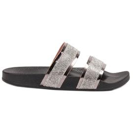 Ideal Shoes grå Kvinders Tøfler Med Zircons