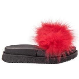 SHELOVET Tøfler Med Fur rød