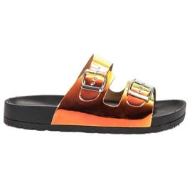 Ideal Shoes gul Tøfler Med Holo Spænde