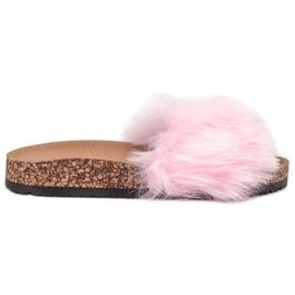 Bona pink Tøfler Med Fur