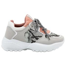 SHELOVET grå Moderigtigt Sneakers Snake Print