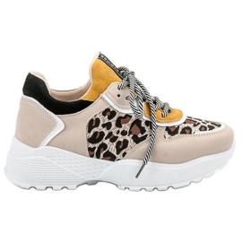 SHELOVET brun Moderigtige Leopard Print Sneakers