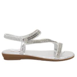 Grå Sølv asymmetriske sandaler KM-33 Sølv