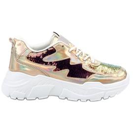 SHELOVET Guld Sneakers Med Sequins