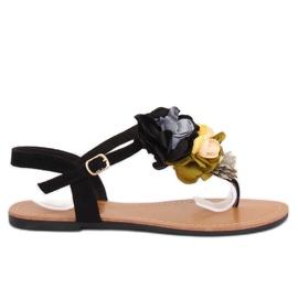 Flip-flops med blomster sort L518 Black