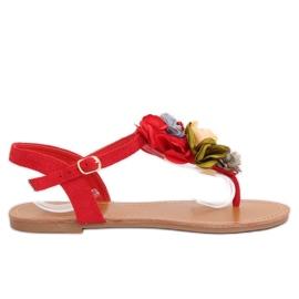 Flip-flops med blomster rød L518 Rød