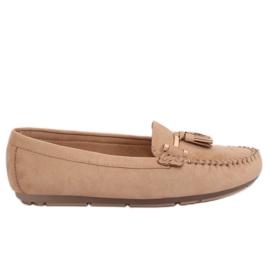 Brun Kvinders loafers beige L7183 Khaki