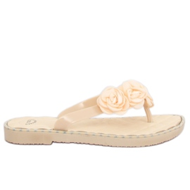 Brun Flip-flops med blomster beige YJL-1818 Beż