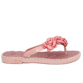 Flip flops med pink blomster YJL-1818 Pink