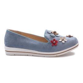 Blå kiler hæle med multi-blomst