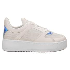Ideal Shoes hvid Sneakers med Brocade