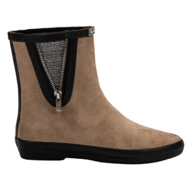 Kylie brun Suede Wellington Støvler Med Dekorative Zip
