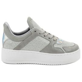 Ideal Shoes grå Sneakers med Brocade