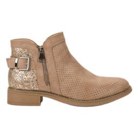 Bestelle brun Beige Snake Print Støvler