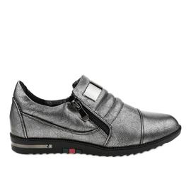 Grå sko med lynlås H034