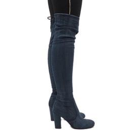 Blå jeansstøvler med rip BH71-HB