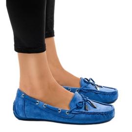 Blå loafers ballerinaer med en bue F03-3