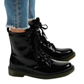 Sorte patentlæderstøvler SD708