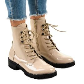 Beige høje støvler til kvinder XW37278 brun