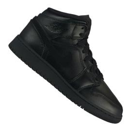 Sort Nike Air Jordan 1 Mid Gs Jr 554725-090 sko