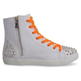 Høj sneakers med studs 6563 hvid