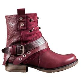 SHELOVET Støvler med rhinestones rød