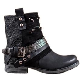 SHELOVET sort Støvler med rhinestones