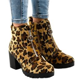 Leopard kvinders støvler med lynlås A273