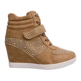 Grøn Sneakers Wedge Sneakers Boots 3188 Khaki