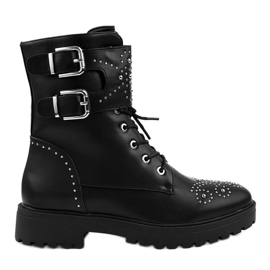 Sort kvinders høje støvler med lynlås A-321