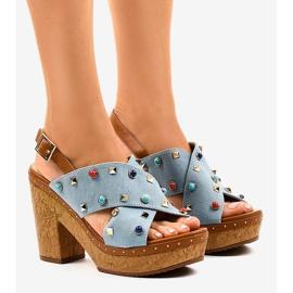 Blå sandaler på platform 1669