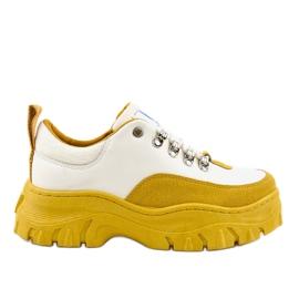 Hvid og gul trendy kvinders sportsfodtøj PF5329