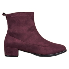 Small Swan Slip-on Suede Boots rød