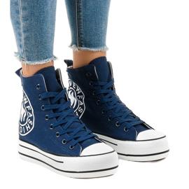 Mørkeblå sneakers på kile W08 navy
