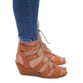 Brun Snøresko-sandaler LL-115 Kamel