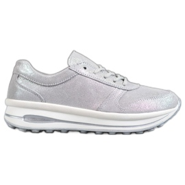VINCEZA Glitter læderfodtøj grå