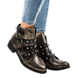 Khaki kvinders støvler flade spænder HQ2366
