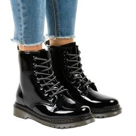 Sort patenteret læderstøvler TL142-1